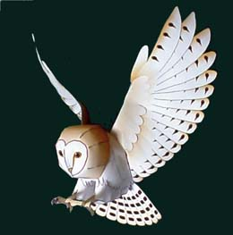 Papercraft imprimible y armable de una Lechura Común / Barn Owl. Manualidades a Raudales.